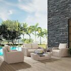 ST AUGUSTINE 5 PC OUTDOOR WICKER SEATING SET WITH OATMEAL CUSHION - LOVESEAT,...