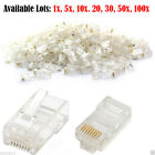 RJ45 Network LAN Modem CAT5e Cable End Crimp Plug Connector GOLD Pins Bulk Lot