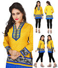 UK STOCK - Women Yellow Indian Short Kurti Tunic Kurta Top Shirt Dress 104C