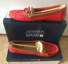 Sperry Top-Sider Women KATHARINE Red/Cognac Leather Two-Tone Moc Driver Shoes 9M