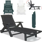 Folding Plastic Sun Lounger With Footrest Outdoor Adjustable Recliner Chair Seat
