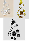 Home Decoration 3D Mirror Wall Clock DIY Crystal Watch With Butterfly And Flower