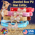 Jeweled Bow PU Dog Collar Leather crystals Cat Adjustable  Hook with free bell