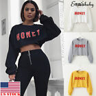 US Women Hoodie Sweatshirt Jumper Sweater Crop top Coat Sports Pullover Tops S-L