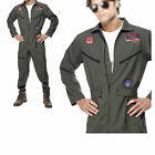 Halloween Men's 80's Top Gun Flight Jumpsuit Pilot Aviator A