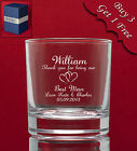 Personalised Engraved LARGE Whisky Glass Tumbler - Weddings Usher Best Man Gift
