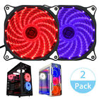 2 Pack 120mm 15 LED Neon Light Computer PC Case Cooling Fan Quiet Sleeve Bearing
