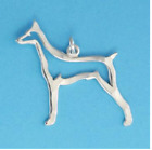 DOBERMAN PINSCHER DOG Outline Charm Pendant Jewelry.925 Sterling Silver
