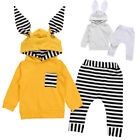 Newborn Baby Boy Girl Twin Bunny Ear Hooded Top+Pants Sweats