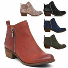 Women's Low Chunky Heel Zipper Ankle Boots PU/Suede Round To