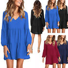 Women's Long Sleeve Empire Waist Loose Swing Ruffle T-Shirt Dress Mini Dresses
