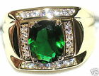 Men's 7.2ctw Emerald & White Topaz Ring