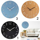 30cm Extra Large Round Wooden Wall Clock Room Time Watch 12H Display Battery