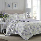 Laura Ashley Keighley Lilac 3-Piece Quilt Set, Cotton, Twin/Full/Queen/King
