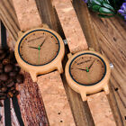 BOBO BIRD Mens Womens Bamboo Watches Timepieces Handmade Cork Leather Bands image