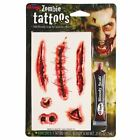 BLOODY TATTOOS Wounds Blood Scabs Halloween Kit Fancy Dress Horror FX Cuts Scary
