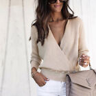 Women's V Neck Long Sleeve Knitted Pullover Jumper Sweater Casual Tops
