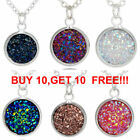 12mm Resin Druzy Crystals Gem  Pendant Necklace Jewelry New Gift Xl1934