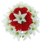 Handmade Artificial Silk Lily Chrysanthemum Memorial Flower Wreath Grave Flower
