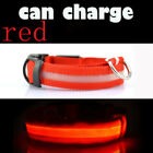 Nylon USB Recharge LED Light Pets Dog Collars Night Cat Necklace Safety Light-up