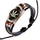 Jamaican Reggae Marijuana Weed Leaf Unisex Men Women Leather Wristband Bracelet