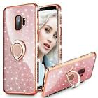 For Samsung Galaxy S9 Case Heavy Duty Cover Bling Diamond Shiny Ring Holder Rose