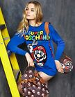 Moschino Couture X Jeremy Scott Super Mario BLUE SWEATER COTTON DRESS JUMPER