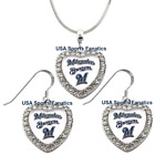 Milwaukee Brewers 925 Necklace / Earrings or Set Team Heart With Rhinestones on Ebay