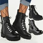 Womens Ladies Flat Lace Up Ankle Boots Chunky Combat Grip Sole Army Shoes New