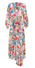 HaoDuoYi Womens Floral Print Wrap Flowy Pleated Wedding Maxi Dress