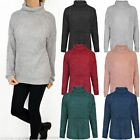 Womens Ladies Thick Jumper Winter Sweater Top Chunky Knitted Soft Turtle Neck UK