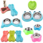 Cartoon Pet Double Bowl Puppy Dog Cat Water Food Feeder Dishes Cats Feeding Bowl