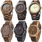 Uwood Mens Natural Wooden Watch Wood Analog Sandalwood Leather Quartz Wristwatch image