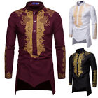 Внешний вид - Mens African Tribal Shirt Dashiki Gold Print Succinct Hippie Top Blouse T-Shirt