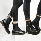 Womens Doc Ankle Boots Black Faux Leather Lace Up Flat Work Army Air Goth Punk