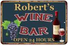 Robert's Green Wine Bar Wall Décor Kitchen Gift Sign Metal 112180043665
