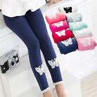 Girls Cotton Soft  Warm leggings Stretchy Pants Lace Butterfly Trousers Spring A