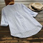 Women Retro V Neck Long Sleeve Casual Loose Baggy Tunic Tops Blouse Plus Size