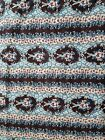 Cotton Craft Fabric Brown Foliage and Floral Design Pink Turquoise Cream Flower