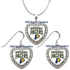 Indiana Pacers 925 Necklace / Earrings or Set Team Heart With Rhinestones on eBay