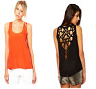 Women's black or orange top with floral cut pattern at the back, size XXL-12-14