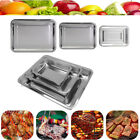 Stainless Steel BBQ Serving Tray Grill Plate Food Platter Container Xmas Party