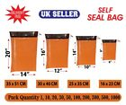 COLOURED MAILING POSTAGE BAGS STRONG ORANGE POLY POSTAL PLASTIC  BAGS SELF SEAL