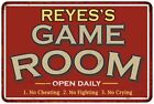 REYESS Game Room Personalized Sign Vintage Look Metal Wall 108120001377