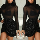 Women Bandage Bodycon Long Sleeve Evening Party Cocktail Club Short Mini Dress