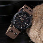 Quartz Fashion Curren Men Date Stainless Steel Leather Analog Sport Wrist Watch image