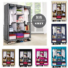 "68""Portable Closet Storage Organizer Canvas Wardrobe Clothes Rack with Shelves"