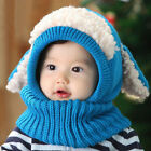 Baby Toddler Boy Girl Winter Warm Hat Beanie Hooded Scarf Earflap Knitted Cap US