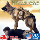 Tactical Dog Hunting Training K9 Molle Vest Harness with 3 Detachable Pouch Bag