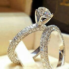 UK 925 Sterling Silver Womens Fashion Jewelry Wedding Engagement Ring Band Set#